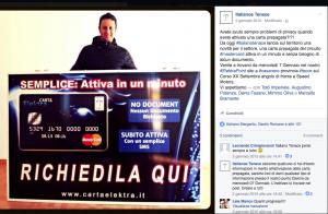 Post su Facebook dove Augustino Potenza pubblicizza la sua carta Italiano tenace